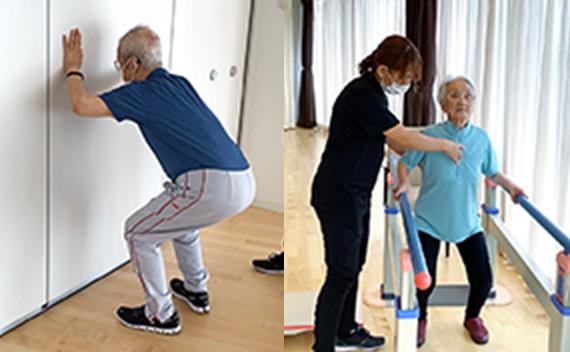 平行棒で筋力強化運動、バランス運動