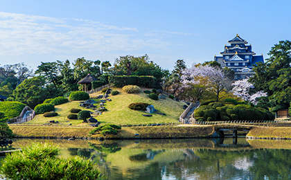 岡山城、後楽園の様子